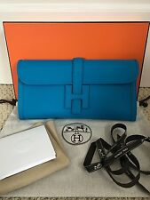 NIB Authentic Hermes Jige Zanzibar Blue Swift Leather H Logo Clutch Bag Handbag