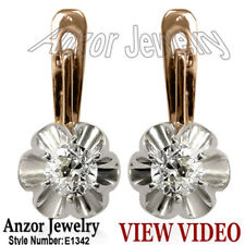 Russian Style White Sapphire Earrings 585 #E1342
