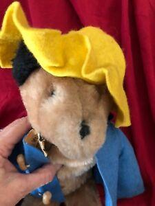"Vintage  Eden Paddington Bear Stuffed Animal Blue Coat Yellow Hat 14"" CUTE!"