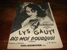 LYS GAUTY - Partition DIS-MOI POURQUOI !!!!!!!!!!!