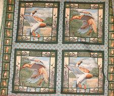 1 Yd. Wild Life Pillow Panel Quilt Fabric Mallard Ducks Hunting In the Marsh