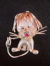 LION EBOURIFFE Diamond and Ruby 14 K gold brooche pin
