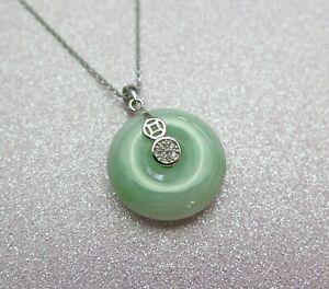 Lucky Grade A Natural Green Jade & 925 Sterling Silver Crystal Agogo Pendant