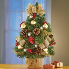 2 Ft Fully Decorated Lighted Pinecones & Gold Bows Tabletop Christmas Tree