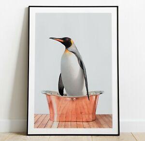 Penguin in a Bath Art Print, Penguin Poster, Home Decor Wall Art