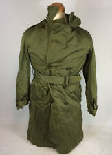 Vtg 50s Army Belted Long Overcoat Removable Liner Trench Coat Small Korean War