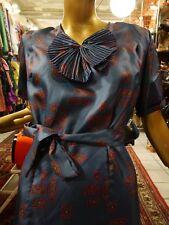 Abendkleid S  40er nachtblau Kleid seidig TRUE VINTAGE 40s silky dress
