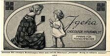 Künstlerwerbung für Chokolade Hauswaldt Igeha Ad 1910