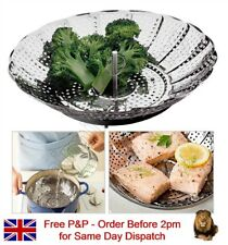 "9"" Stainless Steel Vegetable Steamer Basket Collapsible Cooking Cooker Colander"