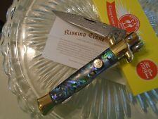 """Kissing Crane Genuine Abalone Damascus Stiletto Pocket Knife Dagger 5478 9"""" Open"""