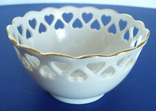 Lenox Ivory Color Round Small Porcelain Heart Bowl with Gold Trim. Candy Bowl