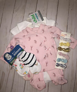 Baby Girl Clothes Set, Hair Clips, and Mittens
