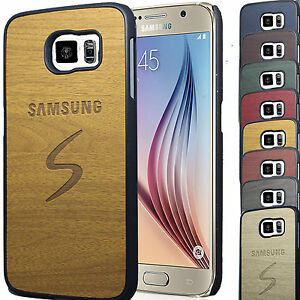 Wood Pattern PU leather back cover Rubber Case Cover For Samsung Galaxy S6 SM-G9
