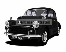 MORRIS MINOR  CAR ART PRINT (SIZE A3). PERSONALISE IT!