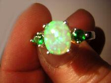 Opal Ring funkelnder grüner Feueropal in 925 Sterling Silber + 2 Smaragde Gr. 54