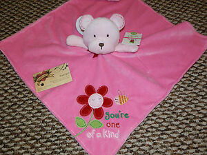 CARTERS SECURITY BLANKET BEAR PINK YOU'RE ONE OF A KIND FLOWER GIRL LOVEY NWT