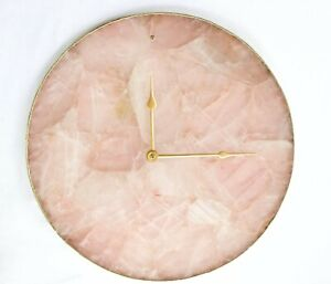 Rose Quartz Agate Wall Clock Circular Round Shape For Home And Office Decor