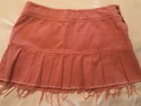 American Eagle Micro Mini Womens Skirt Size 6 Pink Frayed Pleated Denim Button s