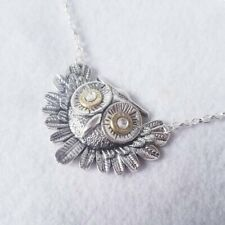 Owl Pendant Necklace with 9mm Bullet Shell Eyes - Bullet Jewelry - Gifts for her