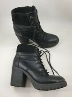 Atmosphere size 7 (40/41) black faux leather lace up block heel ankle boots