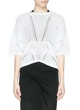 HELMUT LANG White Fractured Lace Short Sleeve Sweater Top Size P NWT $290