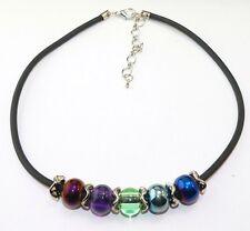 CHICE KETTE mit schwarzem Kautschukband zauberhafte Perlen multicolor 15mm 389