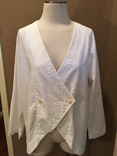 FLAX JEANNE ENGELHART M WHITE 100% COTTON TUNIC/BLOUSE LONG SLEEVES VERY NICE!