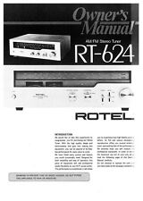 Rotel RT-624 Tuner Owners Instruction Manual