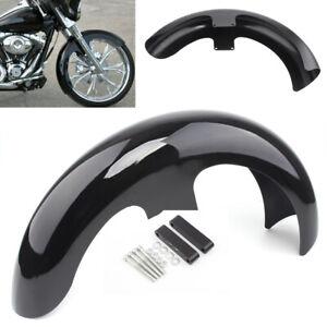 "21""Wrap Vivid Black Front Fender For Harley Touring Electra Street Glide Baggers"