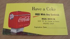 "VTG 1950's REGAL DRIVE IN Fresno CA ""HAVE A COKE"" Free Coca-Cola Card~"