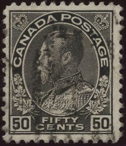 Canada #120a 50c black - wet printing - Admiral Issue of 1911 - used