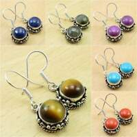 Multi-Color Choice ! 925 Silver Plated TIGER'S EYE & Other Gemstone ART Earrings