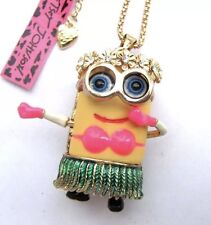 Betsey Johnson Necklace MINION Hula Hawaii Aloha Luau Grass Skirt GIFT BOX