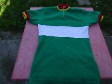 maillot de vélo vintage Tricot du Rocher vert et blanc T2