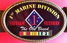 "Vietnam Veteran 1st MARINE DIVDIVISION ""The Old Breed""  Epoxy Belt Buckle - NEW"