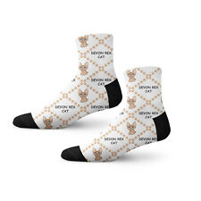 Devon Rex Cat Head Paws Fun Cool Novelty Cuff Men Women Socks