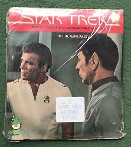 "Star Trek ""Time Stealer"" ""Human Factor"" 45 RPM 2 Records SEALED NOS Peter Pan"