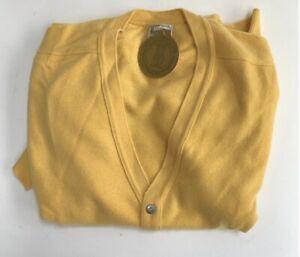 Harrods Johnstons Of Elgin Pure Scottish Cashmere Yellow Cardigan Size XXL