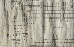 1906 MAP of KEELER Inyo CA w/ Carson & Colorado Railroad Station