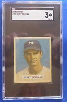 JERRY COLEMAN New York Yankees rookie vintage 1949 Bowman #225 SGC Graded: 3(vg)