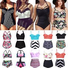 Plus Size Women High Waist Padded Bra Bikini Summer Swimwear Swimsuit Bathing 16