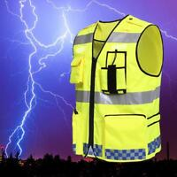 Hot Hi-Vis Safety Vest With Zipper Reflective Jacket Security Waistcoat New Sale