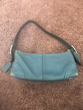 Authentic Coach Teal Leather Baguette Hobo Shoulder Bag Blue Adjustable Strap