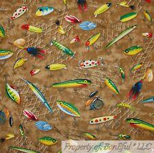 BonEful FABRIC FQ Cotton Quilt Brown Rainbow Fish Lure Hunt Cabin Lake Water Boy