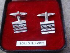 VINTAGE SOLID SILVER STERLING 925 LONDON 1967 LWG DIAMOND CUT CUFFLINKS