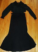 Vtg Dress Top Shirt & Long Skirt Set Black Sheer Nylon & Lace Cont Fit Sz M 8