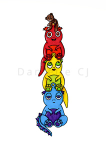 Little Monsters Stack Print - cute childrens illustrations, colourful nursery