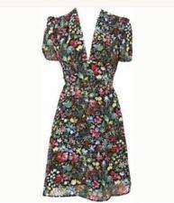 Topshop Petite Estampado Floral Tropical Espalda Abierta Vestido De Té Verano Vintage 20s 40s 4 0