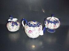 Antique Cobalt Blue Tea Set Tea Pot Sugar & Creamer Hand Painted Flowers