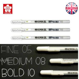 3 x Sakura Gelly Roll White Gel Pen Medium 08 Nib Size UK SELLER XPGB-M Cheapest
